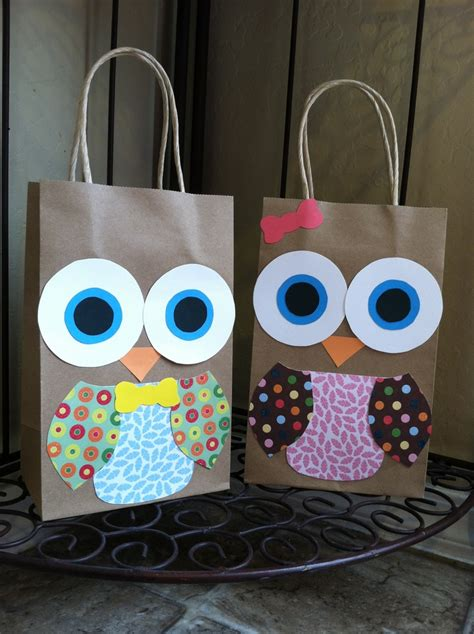 Handmade Birthday Decorations - handmade owl favor bags for look who s 1 birthday