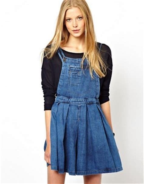 Overall Rok A Line asos asos denim pinafore dress with pleated skirt in