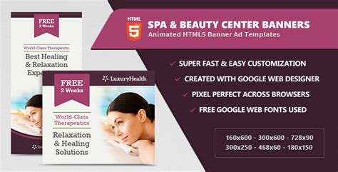 Spa Health Banner Ad Templates Html5 Animated By Infiniweb Codecanyon Html5 Banner Template