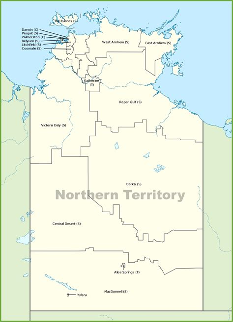 map northern australia northern territory local government area map