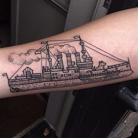 steamboat tattoo design on arm nautical tattoos