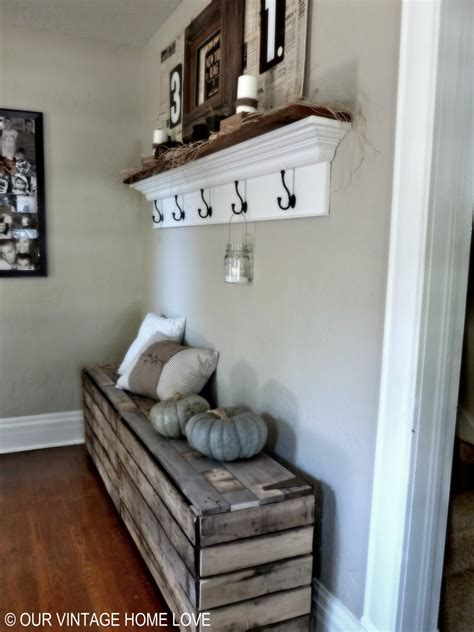 entry ideas our vintage home love rustic pallet bench