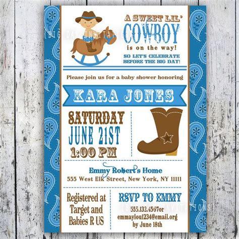 Lil Cowboy Baby Shower by Lil Cowboy Baby Shower Invitation Custom Printable