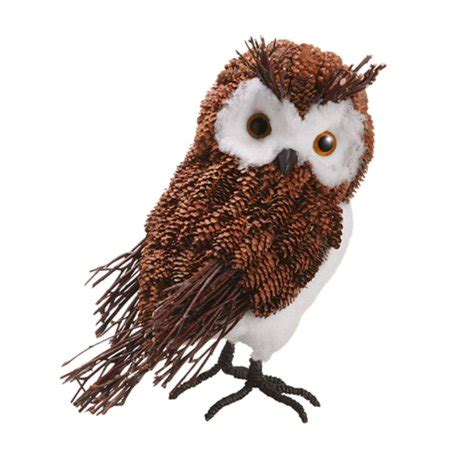 owl creations from pine cones and fluff 10 5 quot modern lodge decorative rustic pine cone owl table top figure walmart