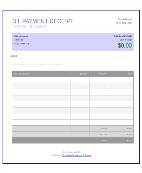 payment receipt format 7 exles in word pdf