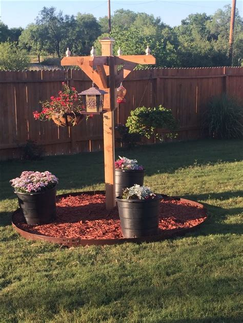 pergola pole  deck corners  incorporate bird feeder