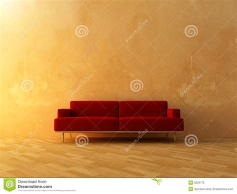 interior red couch on empty wall royalty free stock
