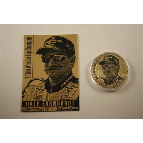 1 Oz Silver One Dollar 2001 by Dale Earnhardt Card 24kt Gold Plated 2001 American