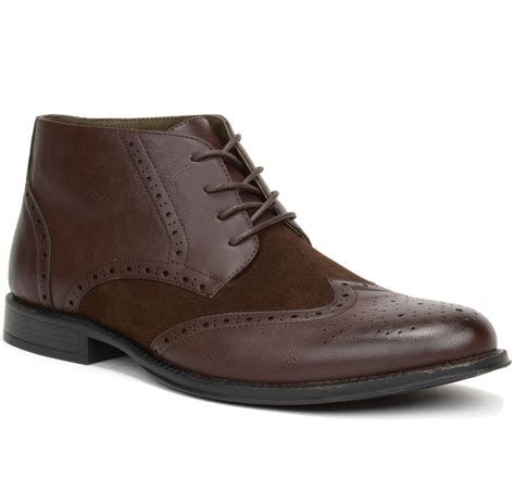 alpine swiss mens boots wing tip lace up dress shoes two