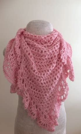pink lace crochet triangle shawl allfreecrochetcom