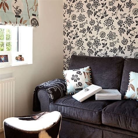 living room feature wallpaper monochrome living room with feature wallpaper easy living room transformations decorating