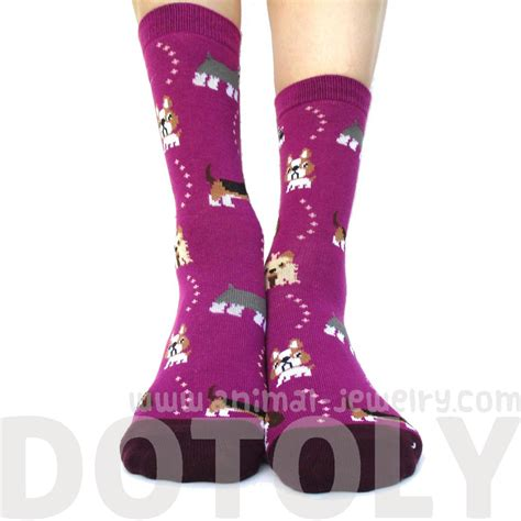 socks with dogs on them bulldog cesky terrier basset hound novelty print socks for