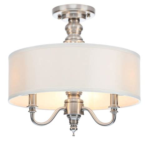 polished nickel flush mount ceiling light hton bay gala 15 in 3 light polished nickel semi
