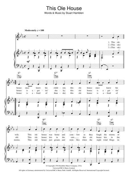 this ole house sheet music download this ole house sheet music by shakin stevens sheet music plus