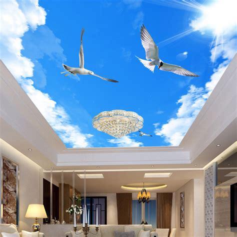 Custom 3d Mural Wallpaper Home Decor Blue Sky White Clouds Sky Ceiling Wallpaper