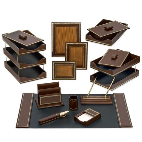 Florentine Leather Desk Set Brown Desk Accessories Luxury Desk Accessories