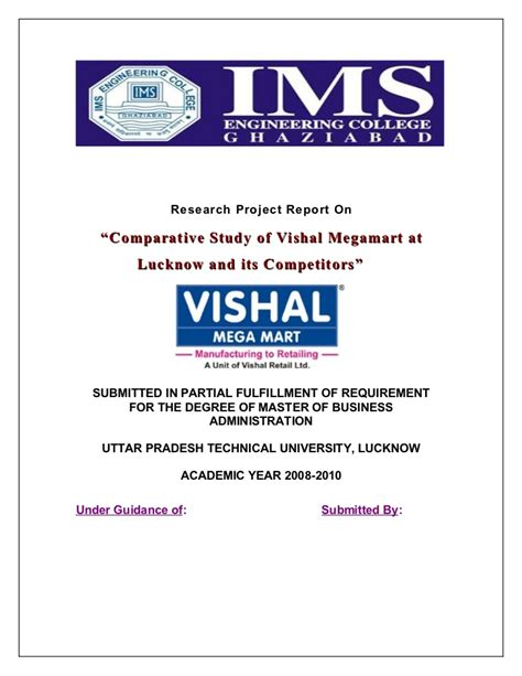 Vishal Mega Mart Project Report Mba by A Research Project Report On Comparative Study Of Vishal