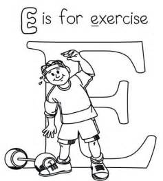 letter e is for exercise coloring page src 2014