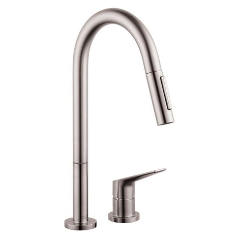 Hansgrohe Kitchen Faucets Hansgrohe Axor Citterio M Single Handle Pull Sprayer Kitchen Faucet In Steel Optik 34822801