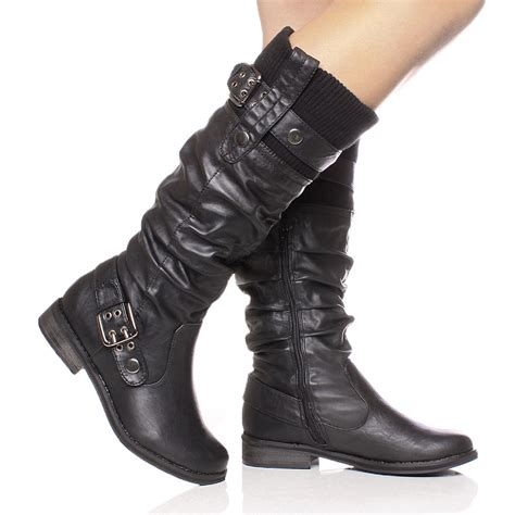 ladies long biker boots womens ladies buckle low heel calf zip biker winter