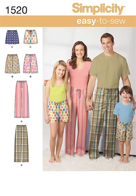 Sewing Patterns Young Adults | simplicity 1520 child s teens and adults pants and shorts