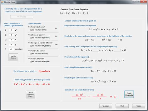 how to identify conic sections algebra main app