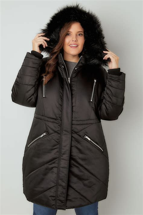 Parka Black by Black Padded Parka Jacket With Faux Fur Plus Size 16