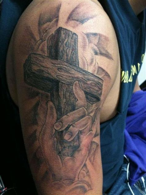shoulder bicep tattoo designs cross tattoos for shoulder arm gallery