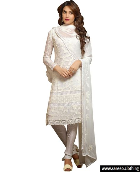 dress design in white colour white color latest style chicken work heavy georgette