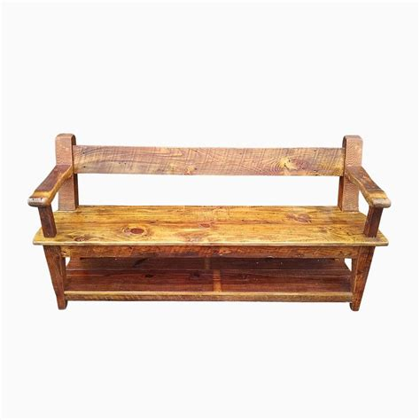 farmhouse bench with back buy hand made reclaimed wood relaxed back farm bench with