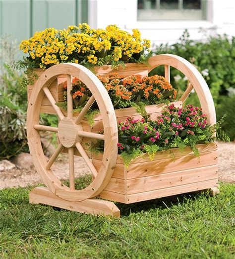 wooden wagon planter solid wood wagon wheel tiered planter deck planters