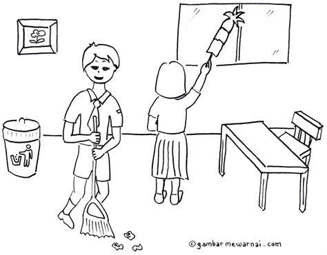 gambar mewarnai kebersihan lingkungan sekolah gambar mewarnai