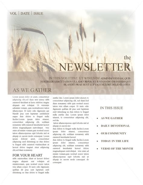 Christian Newsletter Templates Template Newsletter Templates Christian Newsletter Templates