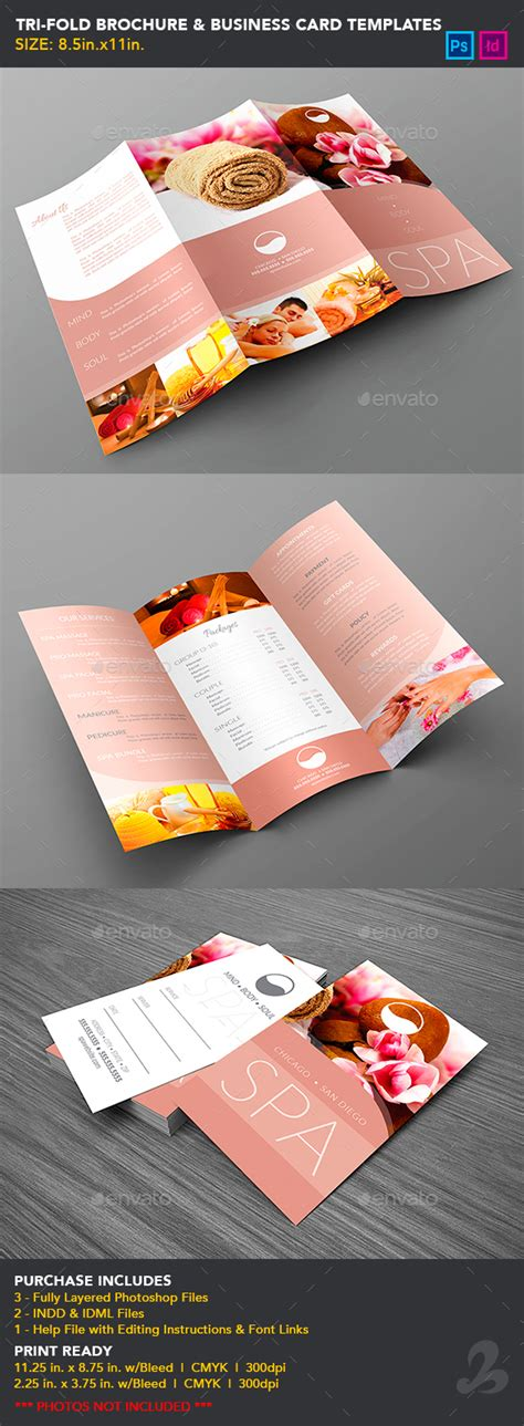 business card brochure template tri fold brochure business card templates spa by