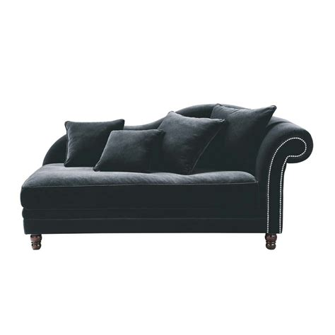 velvet chaise settee velvet chaise longue in black scala maisons du monde