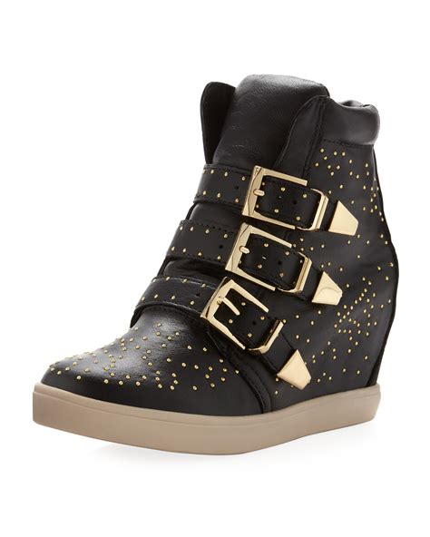 stud wedge sneakers steven by steve madden jeckle studded wedge sneaker black