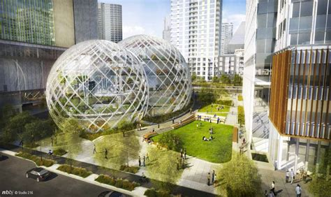 amazon headquarters nbbj proposes five story biodome for amazon s seattle