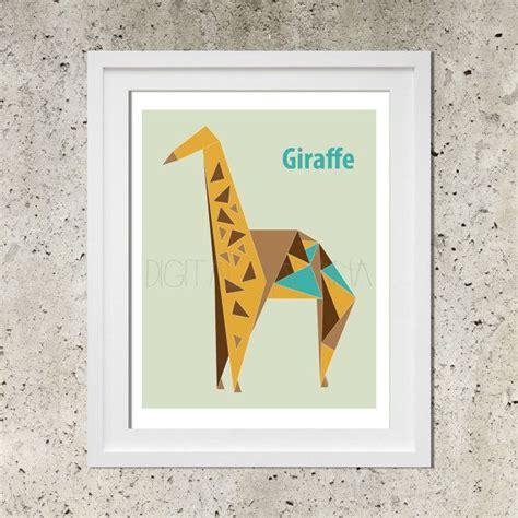 Origami Poster - origami giraffe geometric poster modern nursery by