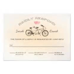 rsvp cards wedding tandem bicycle wedding rsvp card 3 5 quot x 5 quot invitation card