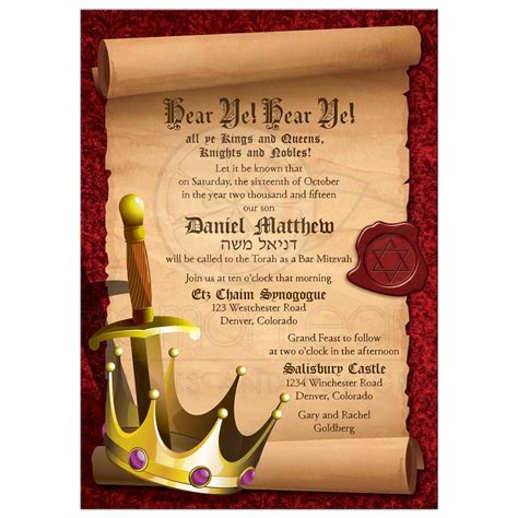 Knight Home Decor by Fantasy Knight Bar Mitzvah Invitation Medieval