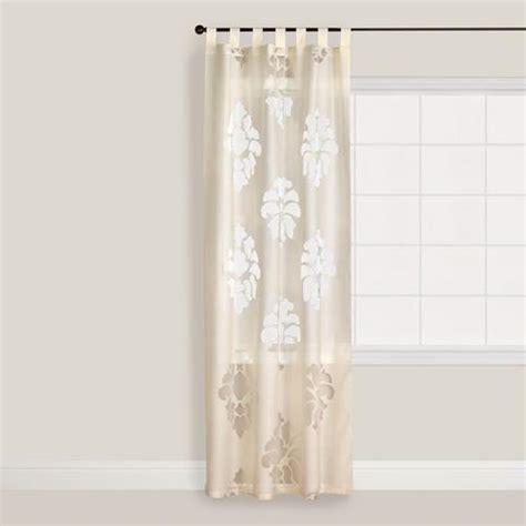 sheer ivory curtains ivory damask burnout sheer curtain world market