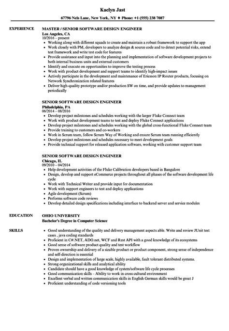 senior software design engineer resume sles velvet