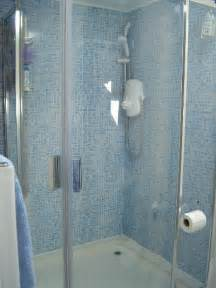 Azure blue mosaic effect bathroom wall panels