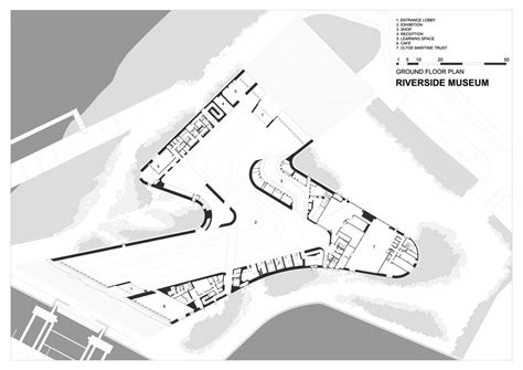 zaha hadid floor plans zha riverside museum of transport k 00 ground floor plan