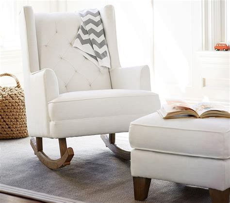Modern tufted wingback rocker stylish nursery chairs pottery barn kids
