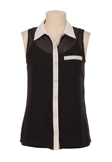 Contrast Trim Chiffon Top sleeveless chiffon contrast trim top available at