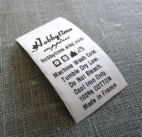 Care Labels For Handmade Items - 300 custom care label black printed on white polyester