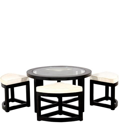 black forest coffee table with 4 stools by