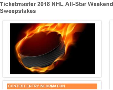 Nhl Sweepstakes - nhl all star weekend ticketmaster sweepstakes 2018 win a trip prize