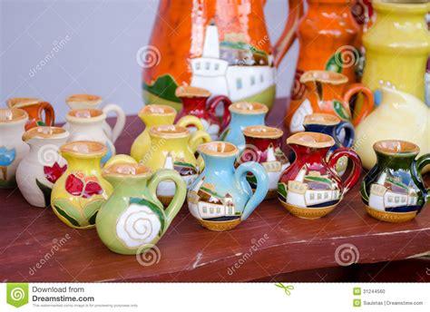 Handmade To Sell - various colorful clay handmade jug jar sell market stock